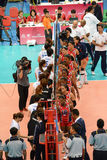Volleyboll WGP: Dominikan VS Thailand Arkivbild
