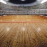 Volleybollarena med åskådare och kopieringsutrymme arkivbild