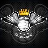 Volleybollboll med vingar och kronan Vektorsportlogo för något lag royaltyfri illustrationer