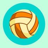 Volleybollbollsymbol Färgrik volleybollboll på en turkosbakgrund den färga utrustningillustrationen skidar sportvatten också vekt Arkivbild