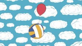 Volleybollen flyger på himlen arkivfilmer