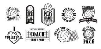 Volleybolllogouppsättning, vektorillustration vektor illustrationer