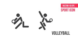Volleybollteckensymbol, logo Sportvektorlinje symboler idrottsman nenpictogram stock illustrationer