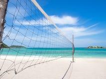 Volleybvall-Netz auf dem Strand Stockfotografie