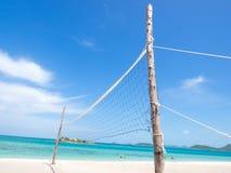 Volleybvall-Netz auf dem Strand Lizenzfreies Stockbild
