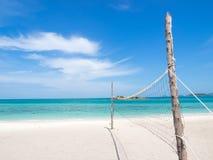 Volleybvall-Netz auf dem Strand Lizenzfreie Stockbilder
