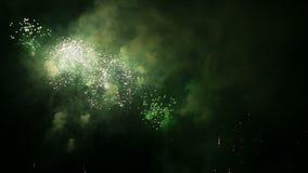 Volleys of celebratory fireworks stock footage