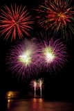 Volleys of fireworks Stock Images