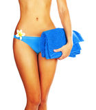 Vollkommene Frauenkarosserie im Bikini Stockfotos