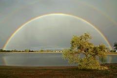 Vollkommener Regenbogen stockbild