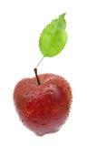 Vollkommener roter Apfel mit Blatt Lizenzfreies Stockbild