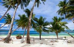 Vollkommener tropischer Strand mit Palmen Lizenzfreies Stockfoto