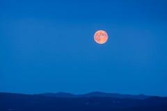 Vollmond, der an der blauen Stunde steigt Stockbilder