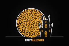 Vollmond-Designhintergrund Halloween-Hauses Lizenzfreie Stockfotografie