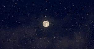 Vollmond und Sterne, Stockfoto
