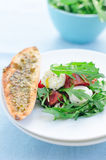 Vollständiger Mozzarella mit Salat lizenzfreies stockbild