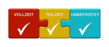 Vollzeit-, Teilzeit- und unaufhörlicher Deutscher Darstellens mit 3 Puzzlespiel-Knöpfen stock abbildung