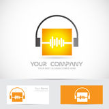 Volme audio headphones music logo Stock Photos