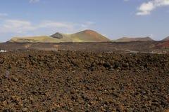 Volnanic och lava, Lanzarote Arkivfoto