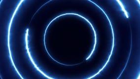 Volo al neon del bakcground attraverso i cerchi al neon giranti d'ardore edless che creano un tunnel, spettro viola di rossi carm illustrazione vettoriale