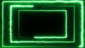 Volo al neon del bakcground con il rettangolo al neon girante d'ardore edless che crea un tunnel, spettro viola di rossi carmini  archivi video