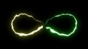 Volo al neon GIALLO VERDE di forma di simbolo di infinito del bullone di fulmine di Loopable su nuova qualità di animazione nera  illustrazione di stock