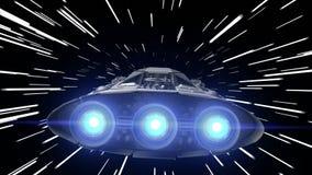 Volo attraverso l'iperspazio di un veicolo spaziale con i motori di palpitazione, ciclo senza cuciture, di fantascienza animazion illustrazione di stock