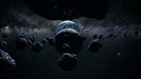 Volo attraverso le meteoriti un sole meraviglioso spazio Luna illustrazione di stock