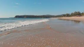 Volo basso del fuco sopra le onde della spiaggia di Agonda Stato di Goa L'India stock footage