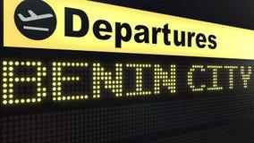 Volo a Benin City sul bordo di partenze dell'aeroporto internazionale Viaggiando alla rappresentazione concettuale 3D della Niger Immagine Stock