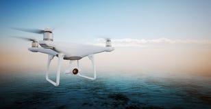 Volo bianco della macchina fotografica di azione del fuco di controllo di Matte Generic Design Modern Remote della foto in cielo  Immagine Stock Libera da Diritti