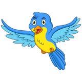 Volo blu felice del fumetto dell'uccello royalty illustrazione gratis