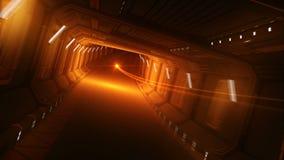 Volo d'ardore arancio del colpo nel tunnel astratto dell'astronave Bello moto avvolto di animazione 3d in metallo futuristico royalty illustrazione gratis