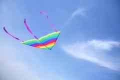 Volo del cervo volante in cielo blu Immagine Stock