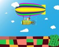 Volo del dirigibile nel cielo sopra i campi Illustrazione creativa royalty illustrazione gratis