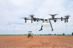 Volo del fuco di agricoltura sulla preparazione della terra Fotografie Stock