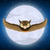 Volo del gufo con il fondo della stella e della luna piena Fotografia Stock