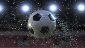 Volo del pallone da calcio attraverso il movimento lento 4k delle gocce di acqua illustrazione vettoriale