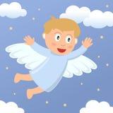 Volo del ragazzo di angelo nel cielo Fotografia Stock
