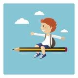 Volo del ragazzo in una matita Fotografia Stock Libera da Diritti