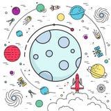 Volo del razzo di spazio cosmico che vola ai precedenti della luna Insieme dell'illustrazione infographic dell'universo dello spa illustrazione vettoriale