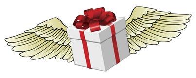 Volo del regalo con le ali messe le piume a Fotografia Stock