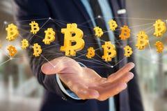 Volo del segno di Bitcoin intorno ad una connessione di rete - 3d rendono Immagini Stock