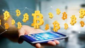 Volo del segno di Bitcoin intorno ad una connessione di rete - 3d rendono Fotografia Stock
