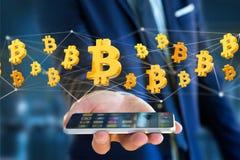 Volo del segno di Bitcoin intorno ad una connessione di rete - 3d rendono Fotografie Stock Libere da Diritti