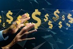 Volo del simbolo di dollaro intorno ad una connessione di rete - 3d rendono Fotografie Stock Libere da Diritti