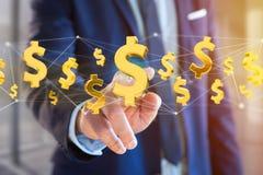 Volo del simbolo di dollaro intorno ad una connessione di rete - 3d rendono Immagini Stock Libere da Diritti