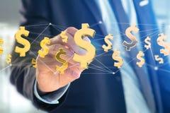 Volo del simbolo di dollaro intorno ad una connessione di rete - 3d rendono Fotografie Stock