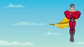 Volo del supereroe in cielo archivi video
