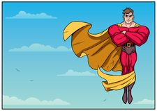 Volo del supereroe nell'orizzontale del cielo Fotografia Stock Libera da Diritti